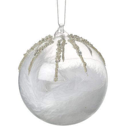 Feather Filled Glass Bauble 8cm