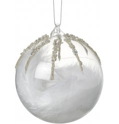 Bring an elegant touch to your tree decor this festive season with this beautifully finished glass bauble