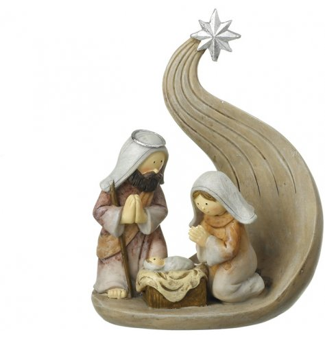 A beautifully compact 3 piece nativity scene with a swirling back drop complete with silver guiding star.