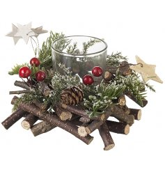 Bring a sense of the woodlands to any themed decor this Christmas season with this beautifully decorated candle holder