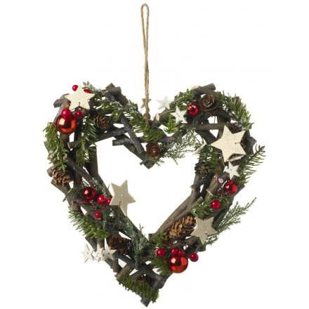 Frosted Berry and Pinecone Heart Wreath 32cm