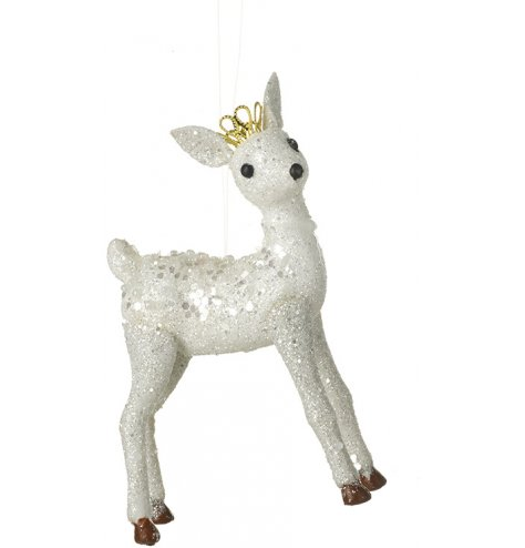 A sparkling white reindeer decoration with glitter, sequins and a gold plastic crown.