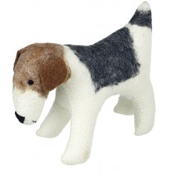 A sweet standing woollen decoration in a Jack Russel form