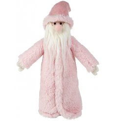 Set with his rosey pink nose, long fur coat and white fluffy beard, this fabulous woollen Santa will stand perfectly