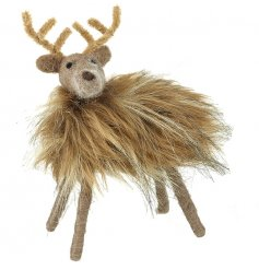 Set with his woollen features and fuzzy body finish, this little reindeer decoration will stand proudly