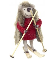 This woollen hedgehog is perfectly finished in his red winter knitted jumper and little set of skiing equipment