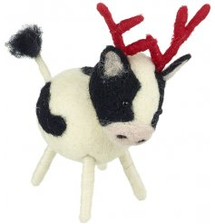 Everybody needs an adorable woolly cow decoration in their home at Christmas time