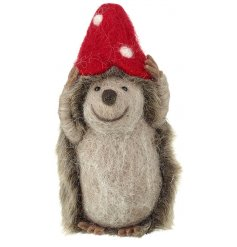 This adorable little woollen hedgehog decoration will be sure to bring a rustic woodland touch to any space hes put in