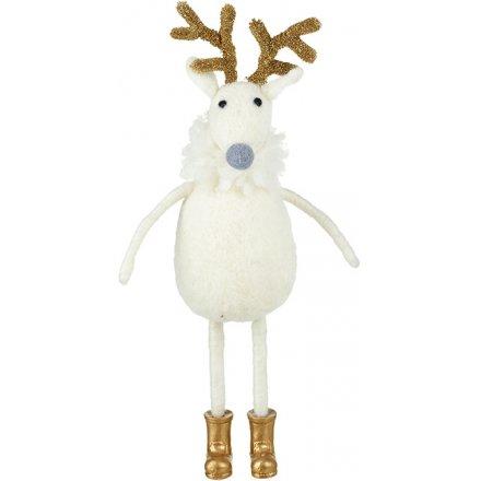 White Woollen Reindeer 26cm