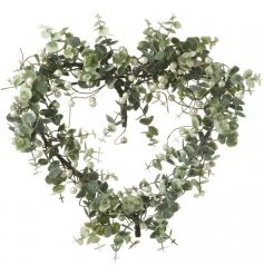 Add a pretty glittery touch to any front door or home decor with this beautiful foliage inspired heart shaped wreath