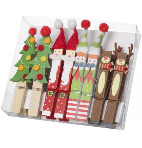A set of 8 colourful Christmas character pegs including Tree, Santa, Elf and Reindeer designs.