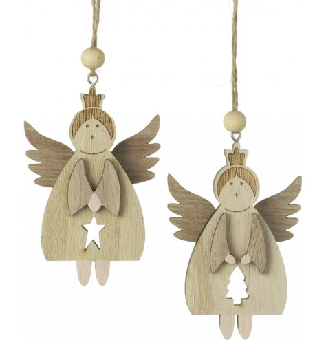 Chic wooden angel decorations in star and tree assortments.