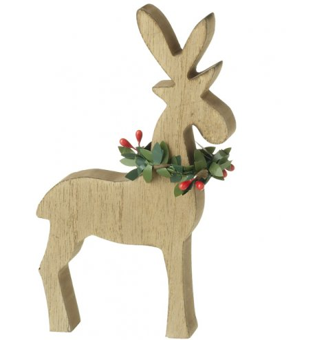 A contemporary wooden reindeer decoration with a red and green holly wreath collar.
