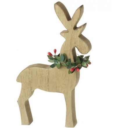 Wooden Deer Block 16.5cm