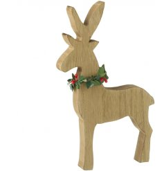 A beautifully simple wooden standing reindeer ornament, complete with a berry wreath collar