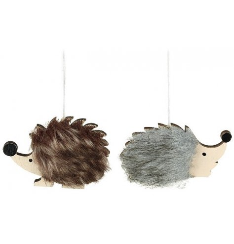 Adorable wooden and faux fur hedgehog hanging decorations in grey and brown assortments.