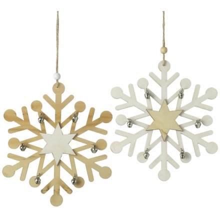 Tla288b Large White And Natural Wooden Snowflakes 39956
