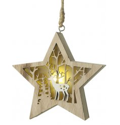 Bring an additional warm glow to your Christmas tree or home decor this season with this beautifully finished hanging wo