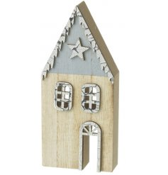 Add a winter touch to any home decor or christmas display with this chic wooden house decoration