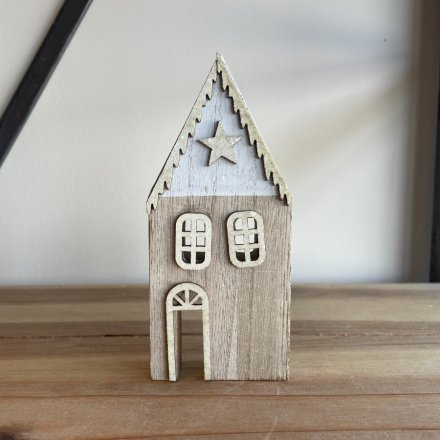 Tall White Wooden Christmas House