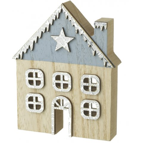 A contemporary and stylish wooden house decoration with a snow topped roof and star embellishment.