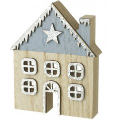 Bring a rustic touch to any home display or decor with this blue roof house decoration