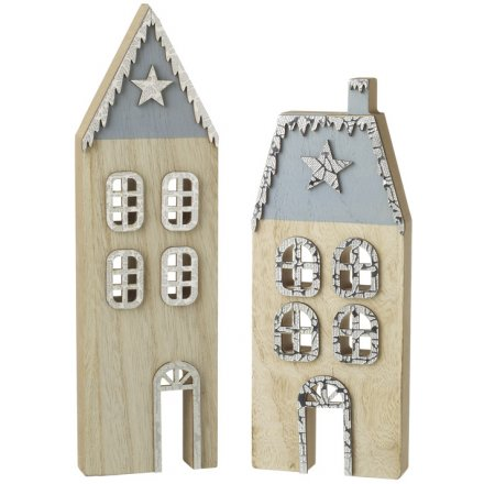 Blue Wooden Christmas Houses, 2 ass