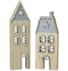Bring a rustic touch to any home display or decor with this assortment of blue roof house decorations
