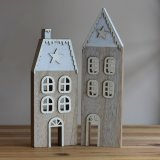 Add a winter touch to any home decor or christmas display with this chic assortment of wooden house decorations