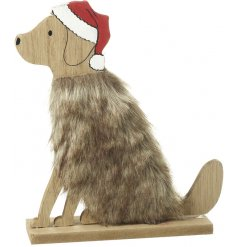 An adorable fuzzy bodied dog decoration, a great little wooden figure for the festive season