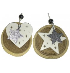 Add a charming glitzy touch to your christmas decor with this assortment of hanging wooden decorations