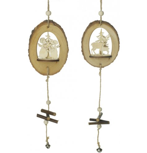 An assortment of 2 natural wooden bark decorations featuring a 3D angel and reindeer scene.