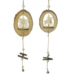 Add a rustic woodland touch to any home decor or display with this assortment of hanging wooden decorations
