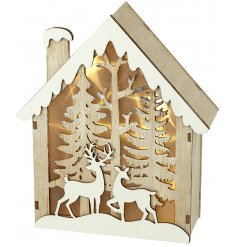 Invite a beautiful cozy glow into your home decor this festive season with this Winter Woodland themed light up box