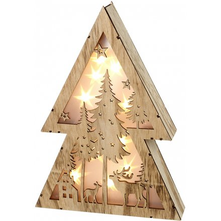 LED Woodland Scene Decoration 30cm