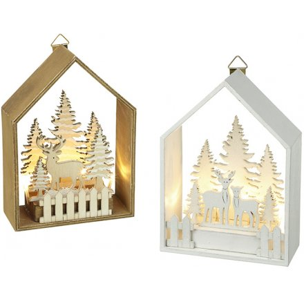 Light Up Forest Scene Hanging Decoration, 2 Assorted