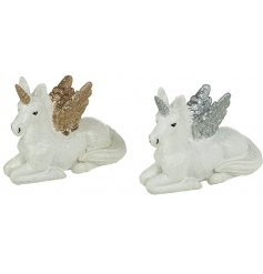 An assortment of 2 Sparkly Sitting Resin Unicorns