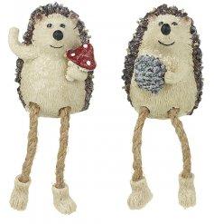 An assortment of 2 Dangly Leg Hedgehog Decorations