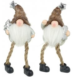 An assortment of 2 Dangling Leg Ceramic Santas