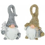 An assortment of 2 Large Silver/Gold Santas In Tall Hats