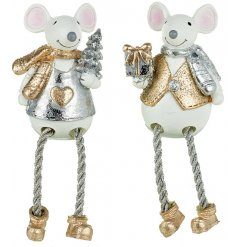 An assortment of 2 Polyresin Mice With Dangly Legs
