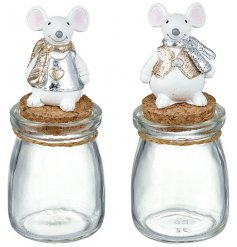 An assortment of 2 Christmas Mice Cork Jars