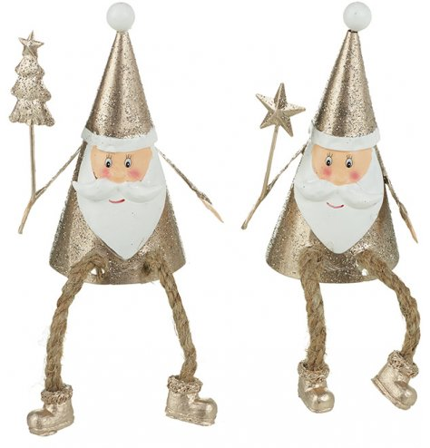 An assortment of 2 gold glitter sitting Santa decorations with cute smiling faces, rope dangling legs and pointed hats