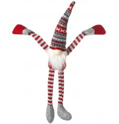 A Hanging Gonk with Red/Grey Fairisle Hat