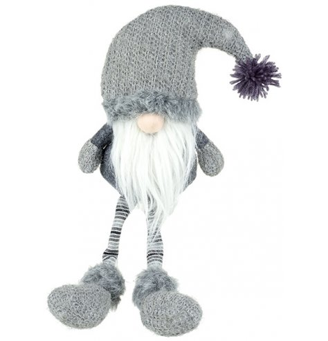 A charming grey knitted gonk shelf sitter with bobble hat and striped dangling legs.