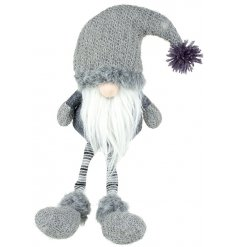 A large Grey Gonk With Santa Bobble Hat