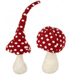 An assortment of 2 Toadstool Mushroom Door Stops