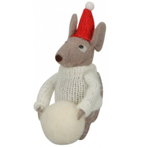 An adorable felt mouse decoration with a knitted jumper and hat. Complete with a felt snowball.