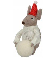 Dressed in his best knitted jumper and topped with a fun festive hat, this little woollen mouse is ready for Christmas!
