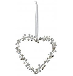 Bring a sparkling silver touch to your tree decor this Christmas with this hanging heart decoration